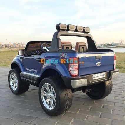 Электромобиль Ford Ranger F650 4WD синий (2х местный, сенсорная медиа панель, резина, кожа, пульт)
