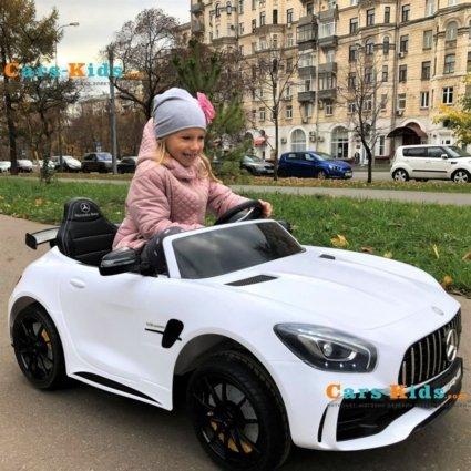 Электромобиль Mercedes-Benz GT R MP3 - HL289-4WD красный (2х местный, колеса резина, кресло кожа, пульт, музыка, кондиционер)